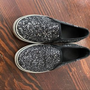Keds Slip Ons Black and Silver Glitter